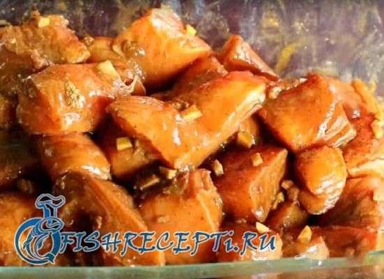 шашлык из лосося на мангале